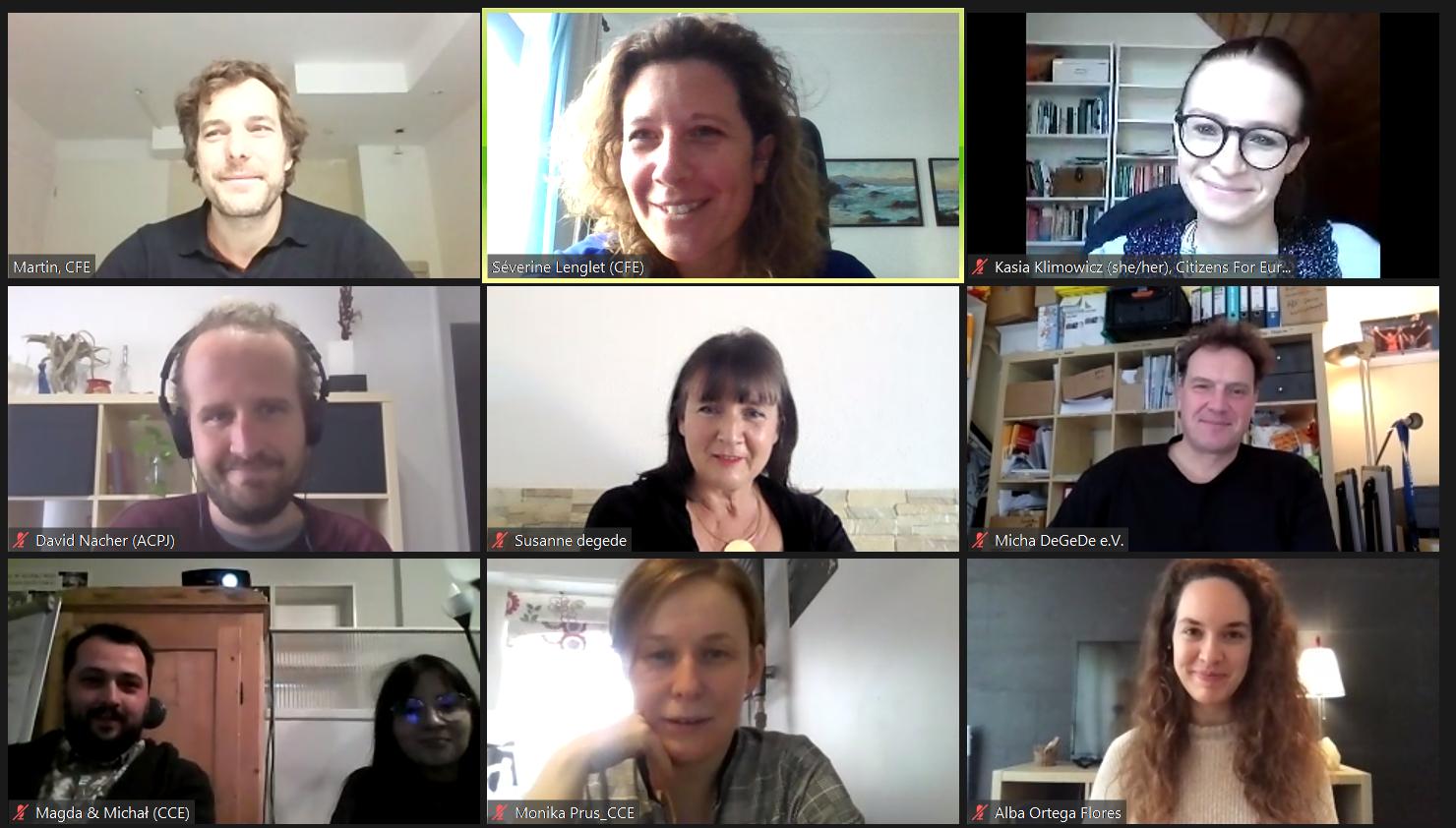 Screenschot first online meeting partners